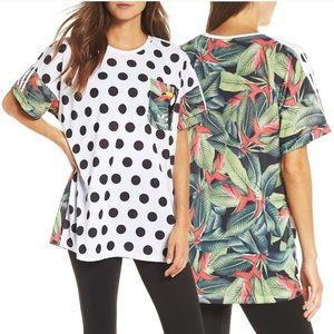Adidas Farm 3 stripe polka dot/ tropical t-shirt